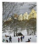 Snowboarding  In Central Park  2011 Fleece Blanket