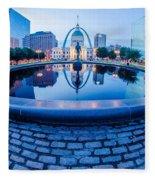 St. Louis Downtown Skyline Buildings At Night Fleece Blanket