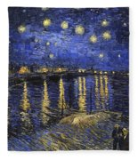 Starry Night Over The Rhone Fleece Blanket