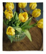 Still Life With Yellow Tulips Fleece Blanket
