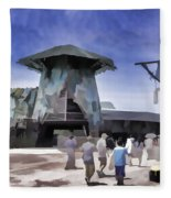 Visitors Heading Towards The Waterworld Attraction Fleece Blanket