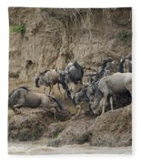 Wildebeests Crossing Mara River, Kenya Fleece Blanket