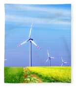 Wind Turbines Fleece Blanket