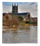 Worcester Cathedral And Swans Fleece Blanket