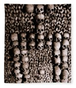 Skulls And Bones In The Catacombs Of Paris France Fleece Blanket