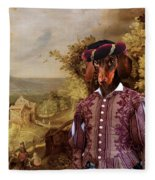 Dachshund Art Canvas Print Fleece Blanket