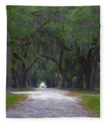 Allee Of Live Oak Tree's Fleece Blanket