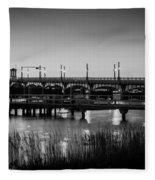 Bridge Of Lions St Augustine Florida Painted Bw Fleece Blanket