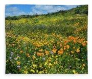 California Poppies Eschscholzia Fleece Blanket