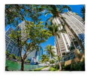 Downtown Miami Brickell Fisheye Fleece Blanket