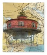 7 Ft Knoll Lighthouse Md Nautical Chart Map Art Cathy Peek Fleece Blanket