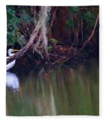 Great White Heron At Waters Edge Fleece Blanket