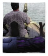 Lady Sleeping While Boatman Steers Fleece Blanket