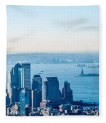 New York City Manhattan Midtown Aerial Panorama View With Skyscr Fleece Blanket