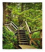 Path In Temperate Rainforest Fleece Blanket