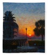 Pineapple Fountain At Dawn Fleece Blanket