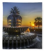 Pineapple Fountain At Sunrise Fleece Blanket