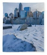 Rare Winter Scenery Around Charlotte North Carolina Fleece Blanket