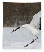 Red-crowned Cranes Fleece Blanket