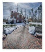 Snow Around Billy Graham Library After Winter Storm Fleece Blanket