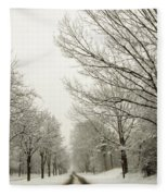 Snow Covered Road And Trees After Winter Storm Fleece Blanket
