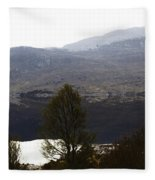 Trees On The Shore Of A Loch And Hills In The Scottish Highlands Fleece Blanket