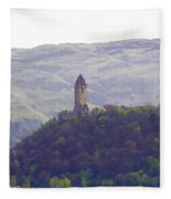 View Of Wallace Monument From The Heights Of The Stirling Castle Fleece Blanket