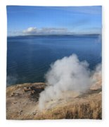 Yellowstone Lake And Geysers Fleece Blanket