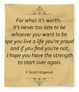 74- F. Scott Fitzgerald Fleece Blanket