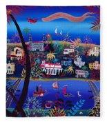 75th Anniversary Of Palm Beach, Florida Oil On Canvas Fleece Blanket
