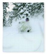 A Man Skiing In Powder Near South Lake Fleece Blanket