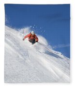 A Young Man Skis Untracked Powder Fleece Blanket