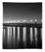 Bridge Of Lions St Augustine Florida Painted Bw Fleece Blanket