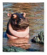 Hippopotamus In River. Serengeti. Tanzania Fleece Blanket