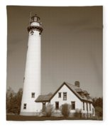 Lighthouse - Presque Isle Michigan Fleece Blanket
