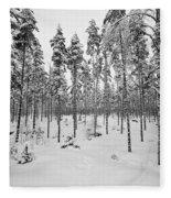 Pine Forest Winter Fleece Blanket