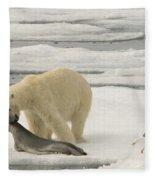 Polar Bear With Fresh Kill Fleece Blanket