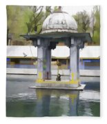 Premises Of The Hindu Temple At Mattan With A Water Pond Fleece Blanket