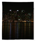 San Diego Skyline Night Fleece Blanket