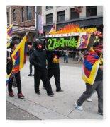 Tibetan Protest March Fleece Blanket