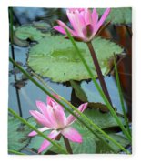 Pink Water Lily Pond Fleece Blanket