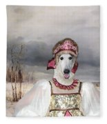 Borzoi - Russian Wolfhound Art Canvas Print Fleece Blanket