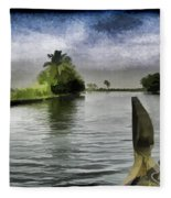 Captain Of The Houseboat Surveying Canal Fleece Blanket