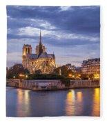 Cathedral Notre Dame Fleece Blanket by Brian Jannsen