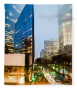 Charlotte City Skyline Night Scene Fleece Blanket