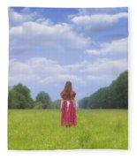 Girl On Meadow Fleece Blanket
