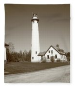 Lighthouse - Presque Isle Michigan Fleece Blanket