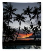 Silhouette Of Palm Trees At Dusk Fleece Blanket