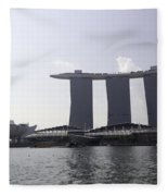 The Artscience Musuem And The Marina Bay Sands Resort In Singapore Fleece Blanket