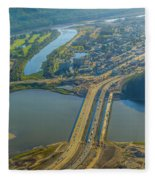 Fort Mcmurray From The Sky Fleece Blanket